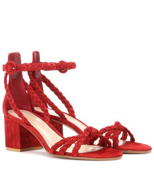 Gianvito Rossi sandals suede red shoes