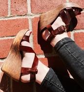 shoes,brown,brown leather,sandals,summer,spring,wedges,platform sandals,wedge heel,leather,leather shoes,leather sandals,wood
