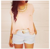 shirt,fashion,clothes,shorts,girly,cute,blue shorts,belt,orange top,necklace,tanned,pants,blouse,jewels,t-shirt,spring summer,diamonds,peach,fashionista,pink blouse,pink shirt,pocket on shirt,jewelry,sweater,bethany mota,aeropostale,white,cardigan,hood,hurry,summer,lace,top,mint shirts,mint,tribal jewlery,pink gold,summer top,cute top,style,outfit,pretty