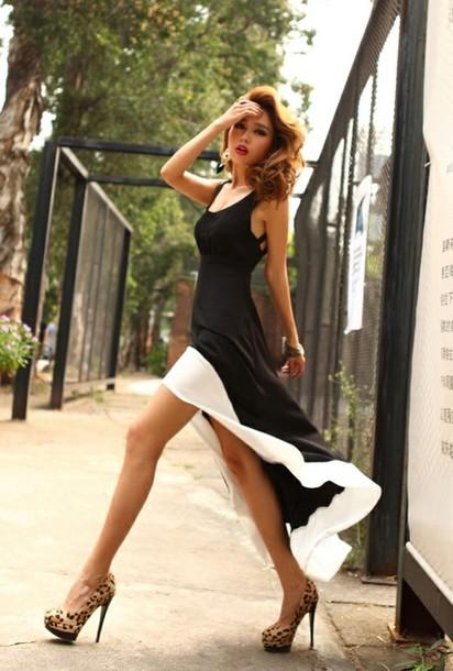 dress maxi dress black dress shoes asymmetrical high