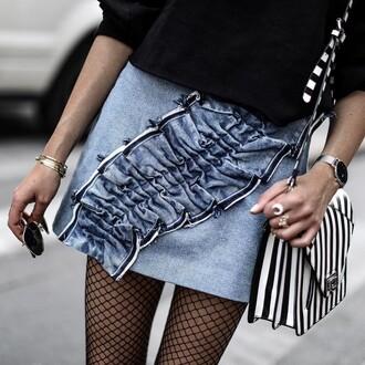 skirt tumblr mini skirt denim skirt ruffle bag stripes bracelets gold bracelet jewels jewelry gold jewelry ring