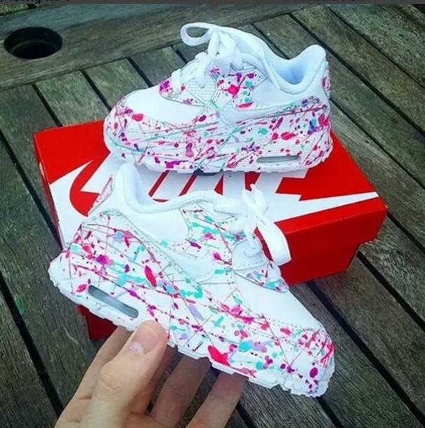 eb12af151cd7 shoes nike shoes nike kids fashion kids shoes air max custom shoes white  pink blue splash