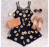 romper,bag,shoes,watch,fashion,clothes,jewels,sunglasses,sunflower,sunflower print romper,black,grunge,90s style,vintage,pom pom shorts,cute outfits,floral