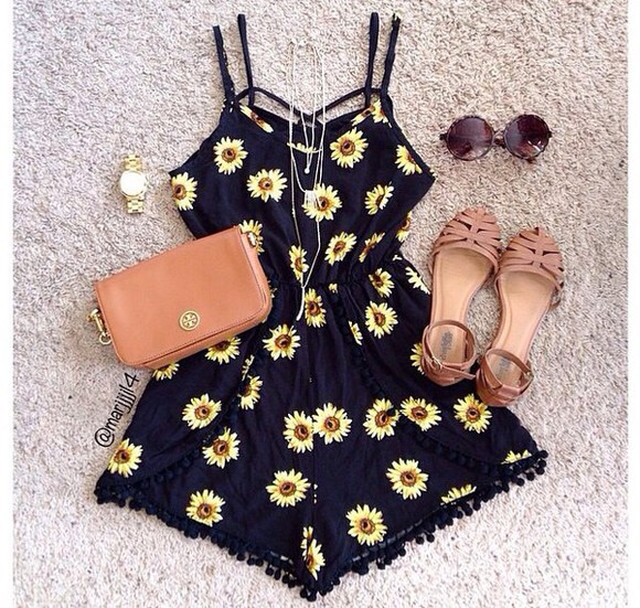 jewels floral black sunglasses romper bag shoes watch fashion clothes playsuit sunflower sunflower print romper grunge 90's vintage pom pom shorts cute outfit