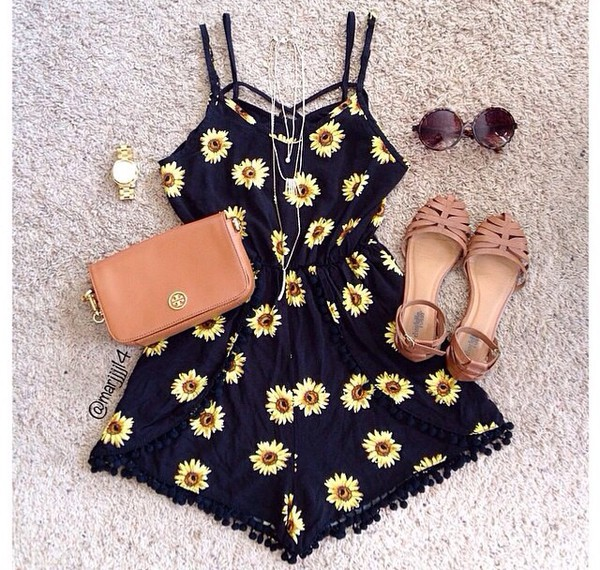 romper bag shoes watch fashion clothes jewels sunglasses romper sunflower sunflower print romper black grunge 90s style vintage pom pom shorts cute outfits floral