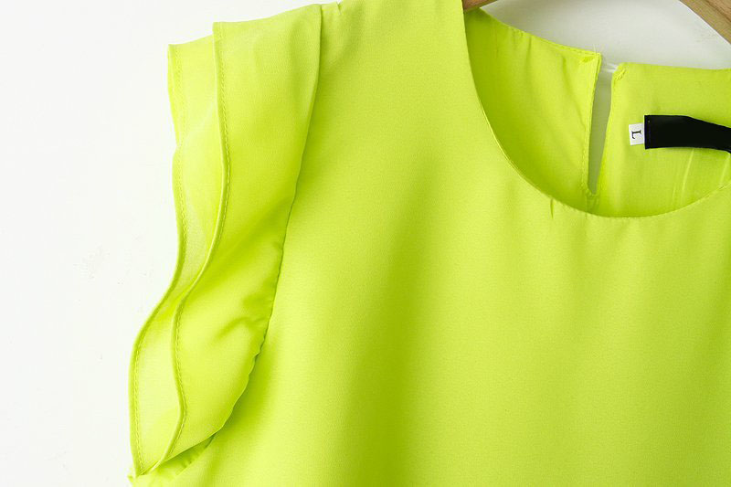 Yellow Ruffle Sleeve Chiffon Top With Green Floral Pant - Sheinside.com