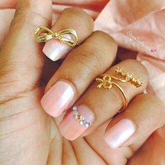 jewels ring dainty gold armcandy manicure nails jewelry pink cute beautiful knuckle ring