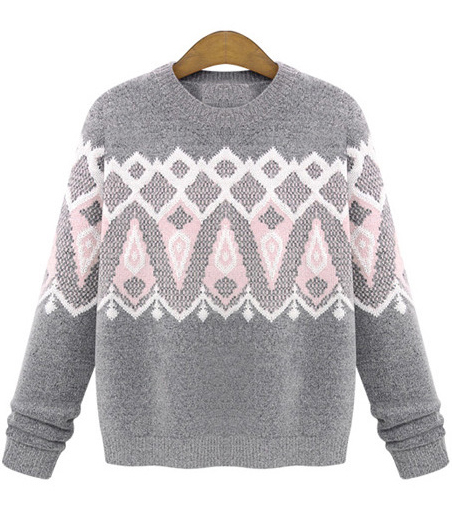 Geometric print knit sweater