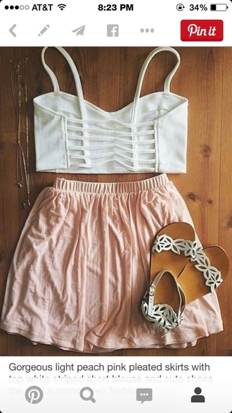 skirt light pink blouse