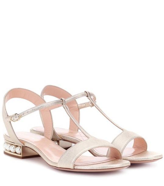 Nicholas Kirkwood Casati Pearl leather sandals in gold