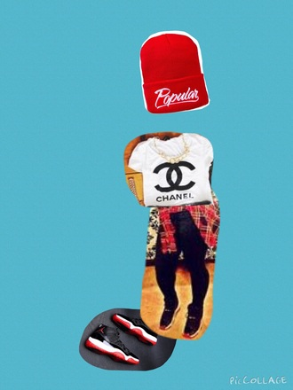 t-shirt jordans chanel red dope swag cute outfit hat shoes