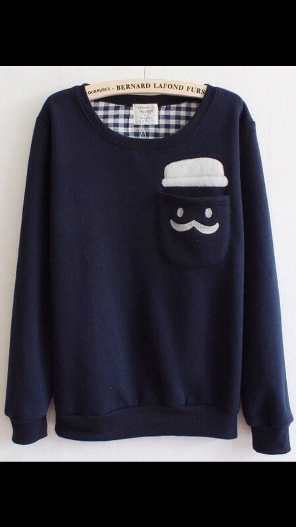 sweater blue moustache dark blue pockets wheretofindit cute blue sweater hipster british kawaii hipster sweater hipster cute sweater tumblr british sweater silly moustache