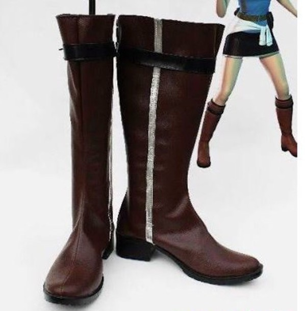 shoes boots jill valentine cosplay silver lining black soles brown boots