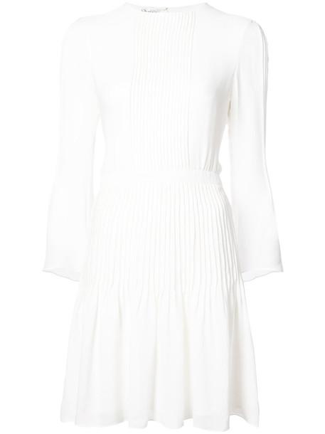 oscar de la renta dress pleated women white silk