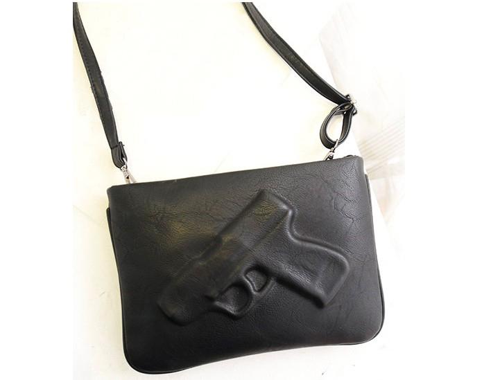 2014 women's handbag fashion pistol bag day clutches envelope bag preppy style vintage messenger gun 3d bags