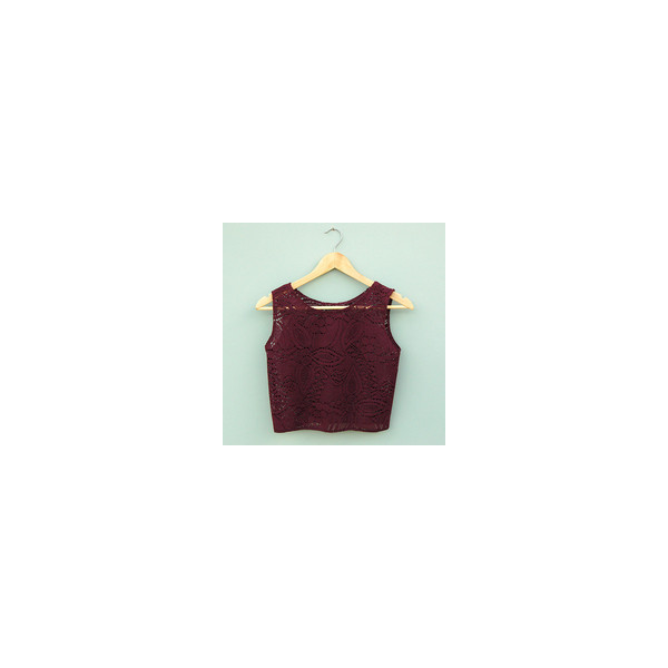 Burgundy Lace Crop Top By Kee Boutique - Polyvore
