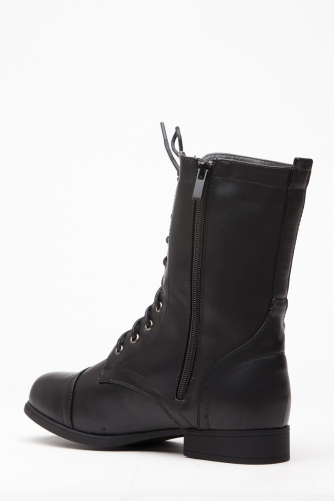 Casadei Leather Lace Up Combat Boots in BlackGold (Black