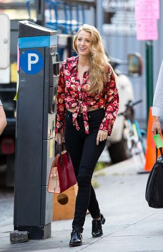 blouse floral flowers pants shoes blake lively