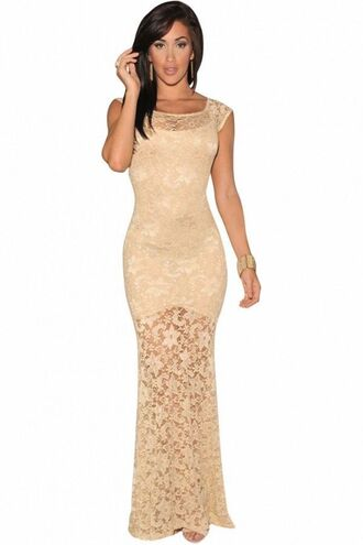 dress ivory maxi dress ivory lace lace maxi dress lined dress cap sleeves evening gown formal gown www.ustrendy.com