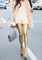 Gold sequined leggings
