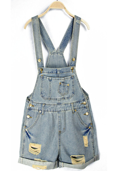 Distressed denime dungarees