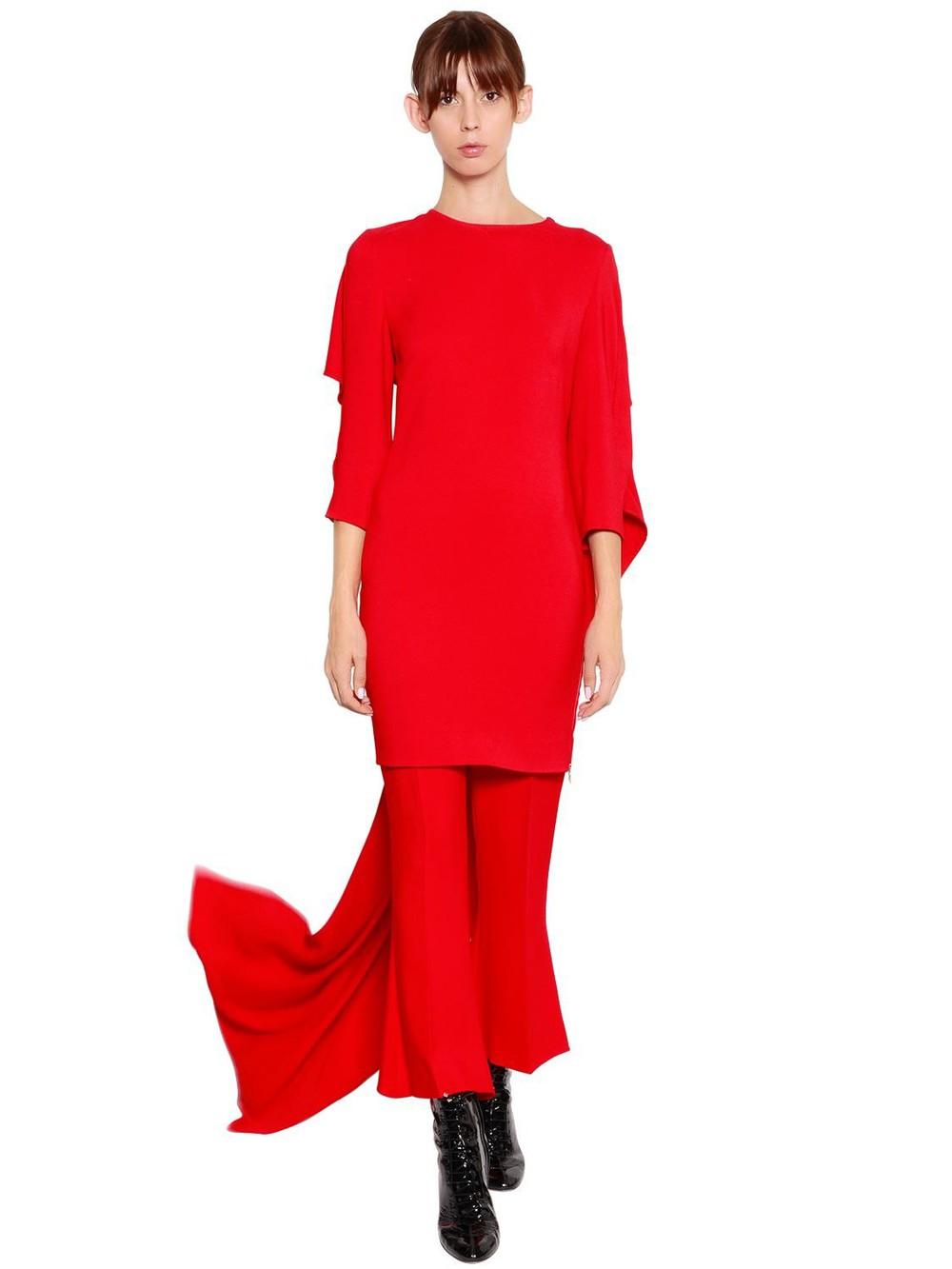 ANTONIO BERARDI Cady Dress With Cape in red