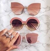 sunglasses,pink sunglasses,round sunglasses,cat eye