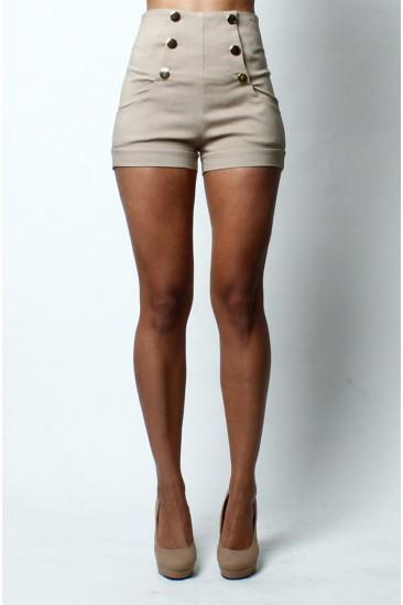 High waist front button shorts -beige- form Love Melrose - BOTTOMS