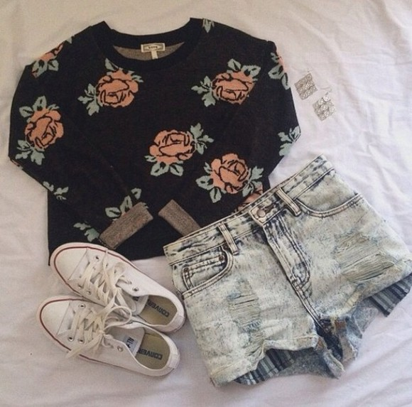 shorts denim shorts sweater black rose print white converse shoes