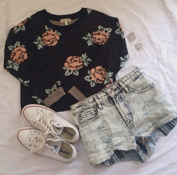 sweater black roses denim shorts white converse shorts shoes