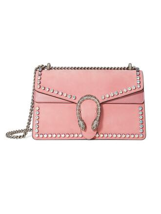 women bag shoulder bag leather suede purple pink