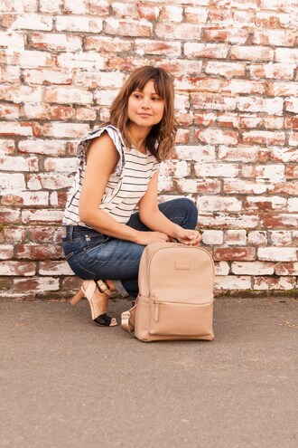 themintmom blogger bag top jeans shoes backpack striped top sandals high heel sandals