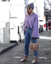 top,tumblr,lilac,grey beanie,beanie,denim,jeans,blue jeans,cuffed jeans,bag,nude bag,chain bag,shoes,metallic,metallic shoes,gucci,gucci shoes,pilgrim shoes,sunglasses