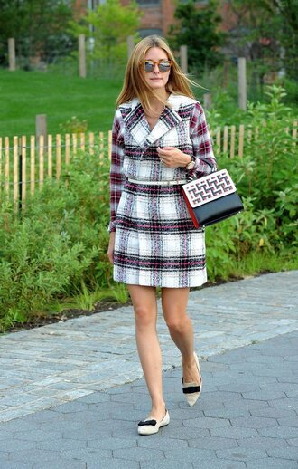 coat olivia palermo flats ballet flats fall outfits shoes shirt vest dress