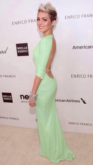 miley cyrus mint strap green dress backless dress dress mileycyrus mintgreen awards redcarpet longdress