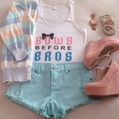 sweater,bows before brows crop top,High waisted shorts,colorful sweater,shorts,tank top,striped sweater