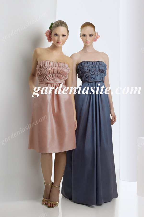 A Line Strapless Knee Length Ruffles/Pleats Satin Homecoming Dress 2014 - Gardeniasite