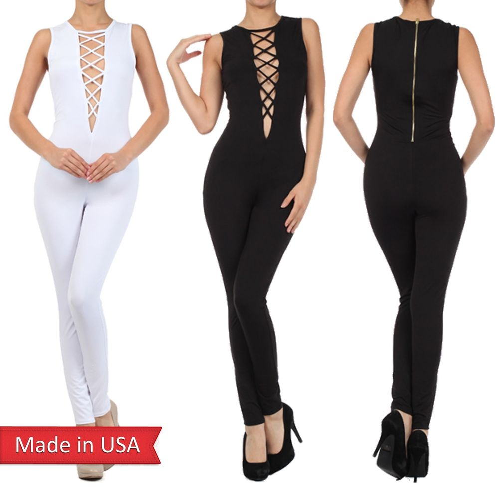 Catsuit criss cross spaghetti lace up detail zipper jumpsuit romper pants usa