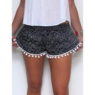 shorts black and white shorts black pants black white pattern black and white patterns white shorts fashion white dots