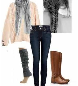 shoes brown boots shorts girly indie comfy comfortable winter outfits skinny jeans boot socks grey scarf oversized sweater cute leg warmers brown leather boots