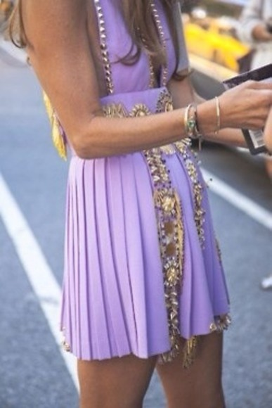 dress purple purple dress jewels summer dresses cute dress cute dresses fashion clothes designs love it, must have, detail dress short dress gold beading light purple low cut dress