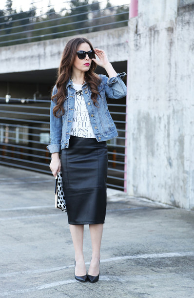 dress corilynn blogger denim jacket pencil skirt faux leather white t-shirt