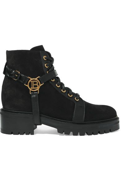 Balmain - Ranger Leather-trimmed Suede Ankle Boots - Black - Ranger Leather-trimmed Suede Ankle Boots