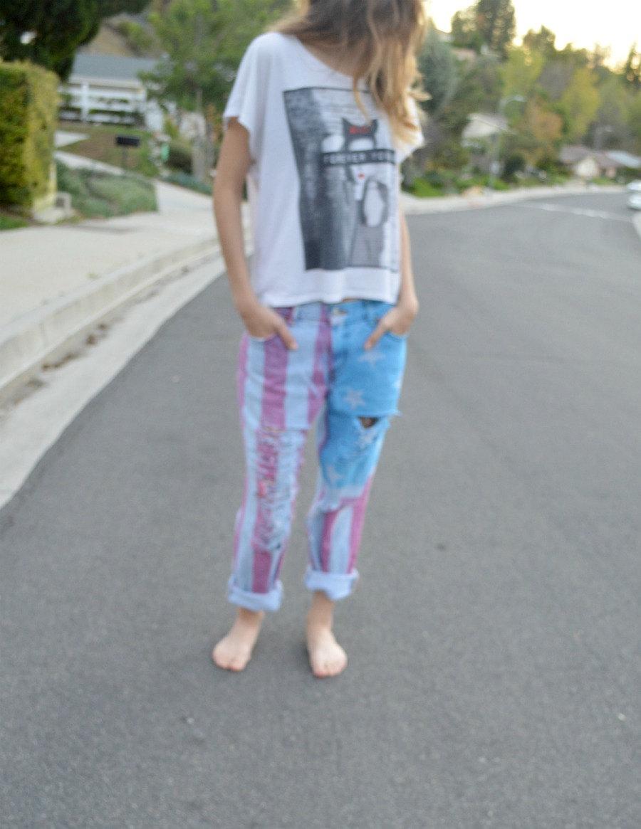 American flag boyfriend jeans