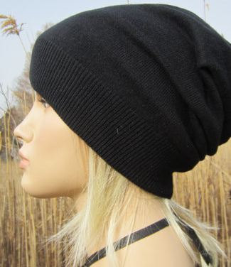 Slouchy Hat Cashmere Beanie Womens Black Hat A49 от ... 27640393f