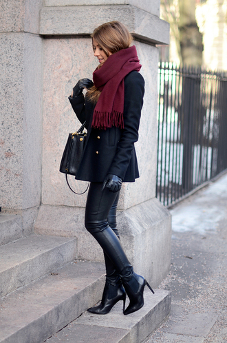 coat black coat winter coat scarf black outfit black pants leather gold buttons shoes