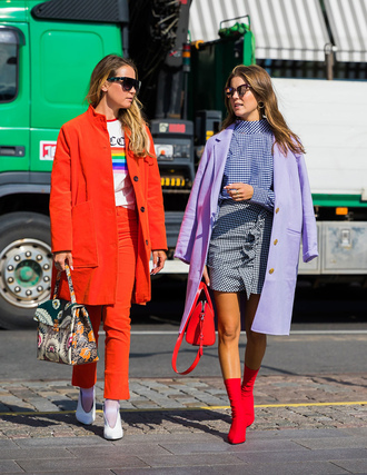 shoes stockholm fashion week white shoes skirt streetstyle boots red boots sock boots coat lilac mini skirt gingham skirt pants orange bag sunglasses