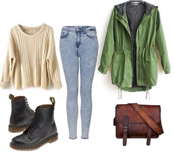 coat green vintage pretty bag black brown bag boots sweater white jeans