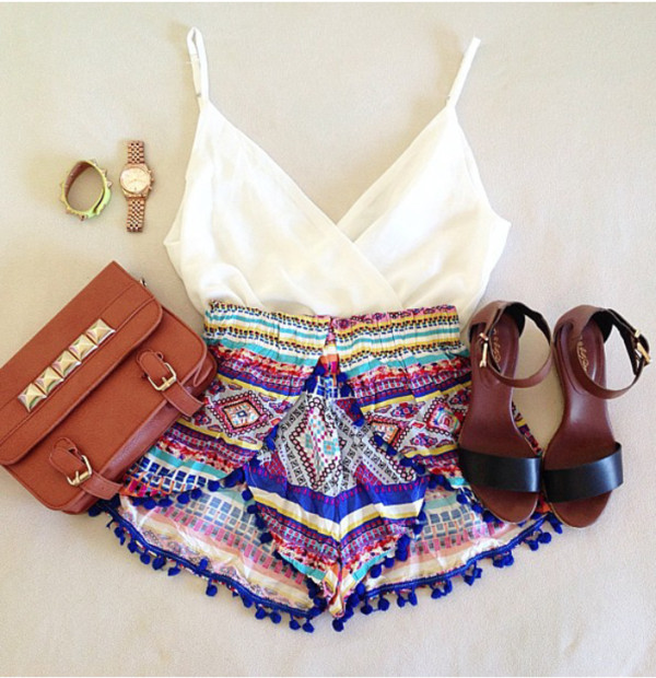 shorts bag shoes clothes multicolor skirt sandals blouse jewels short underwear clolorfull short cool shirt top