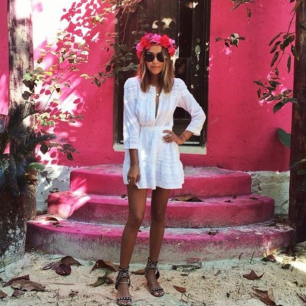 dress boho white dress hippie hipe fashion indie vintage grunge blouse